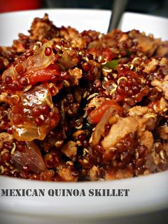 Mexican Quinoa Skillet  1 T olive oil 1 small onion, 1 green pepper, chopped,1 14-oz can diced tomatoes 1 1/2 T chili powder 1 t ground cumin 1 C red quinoa, rinsed   1 1/2 C water Saute onions and peppers in 1 T olive oil, until browned.  Add the ground turkey and brown until  cooked, drain fat,  toss in the spices add the tomatoes, quinoa, and water, and simmer uncovered for 20-30 minutes, until quinoa is cooked and unfurls.  If the water evaporates cover and add a bit more water as…