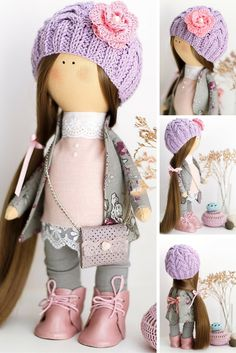Cloth doll handmade, baby doll, art doll, tilda doll, textile doll for decoration interior