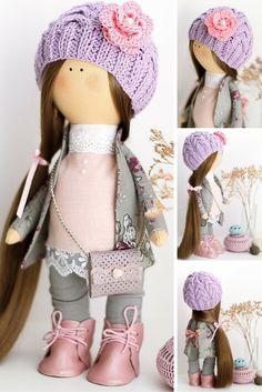 Cloth doll handmade, baby doll, art doll, tilda doll, textile doll for decoration interior