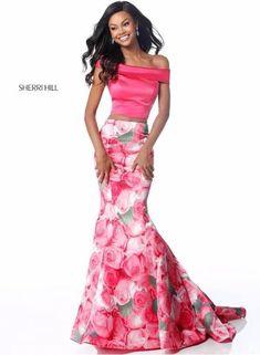 61e98629f6d8 2 piece trumpet prom dress Floral Prom Dresses