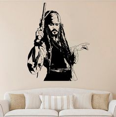 Jack Sparrow Wall Decal Jack Sparrow Vinyl Sticker by AndreadecalS.  $23.99
