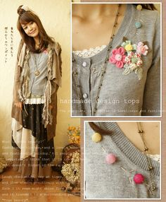flower embelishments to cardigan