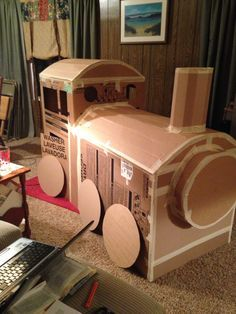 how to make a polar express train from cardboard boxes - Google Search