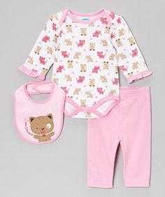 This Pink Kitty Bodysuit Set - Infant by bon bébé is perfect! #zulilyfinds