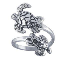 La main en argent Sterling tortues cuillère réglable anneau