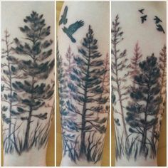 These 50 nature tattoo ideas really capture the beauty of the great outdoors. Look here for gorgeous organic tattoo inspiration. Tree Tattoo Meaning, Tree Tattoo Men, Tree Tattoos, Tatoos, Arm Tattoos With Trees, Tattoo Women, Flower Tattoos, Pine Tattoo, Tattoos Arm Mann