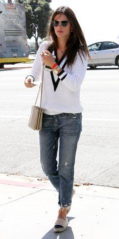 Alessandra Ambrosio // Rag & Bone pullover, Celine bag, and Chanel espadrilles #StreetStyle