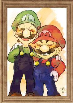 Super Mario World Luigi & Mario. by @gekitsRL
