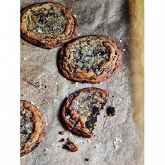 Giant Crinkled Chocolate Chip Cookies - Barefoot Contessa Cookie Desserts, Just Desserts, Cookie Recipes, Delicious Desserts, Dessert Recipes, Yummy Food, Party Desserts, Dessert Ideas, Chocolate Pudding Desserts