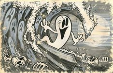 1b6844c56 Beyond The Watery Grave by Shawn Dickinson Canvas Giclee Tattoo Art Print  Ghost Surfer