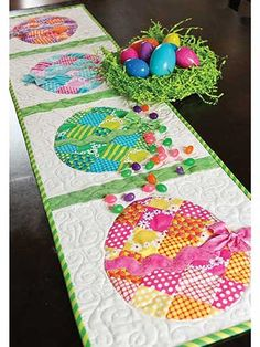 Make a festive Easter-theme table runner. This fabulous, scrappy table runner is fun and easy to make, and perfect for spicing up your decor for Easter. Th