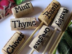 Wine corks, bamboo skewers, and a Sharpie make for great plant markers.