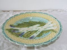 Vintage French Majolica Asparagus Plate // Barbotine // - pinned by pin4etsy.com