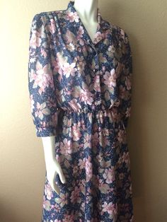 Vintage Apparel Women's 80's Floral Dress Navy by Freshandswanky