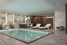 Small Indoor Pool, Indoor Swimming Pools, Swimming Pool Designs, Spa Interior Design, Spa Design, Deco Design, Dream Home Design, House Design, Inside Pool