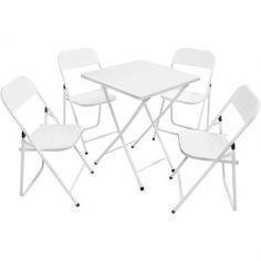 Conjunto com 4 Cadeiras e 1 Mesa Dobrável Ásia Branco