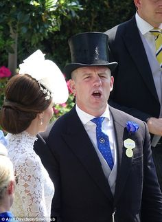The retired rugby player looked animated as he chatted to the Duchess of Cambridge Princess Beatrice, Princess Anne, Prince William And Catherine, William Kate, Duke And Duchess, Duchess Of Cambridge, Queen And Prince Phillip, Floral Fascinators, Carole Middleton