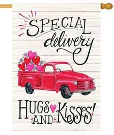 Here is a country style, Valentine's Day garden flag with a bright, red, antique pickup truck, loaded up with pink and red hearts. Valentine Images, Valentine Crafts, Happy Valentines Day, Valentine Stuff, Valentine Heart, Thank You Quotes, Wife Quotes, Husband Quotes, Toddler Activities