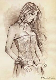 dessin sans couleur jeune fille triste, corset
