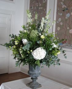 Urn arrangement - if you had this for the church  it would need to stand on something as it is not that tall - it is also very heavy if you wanted to transfer it!