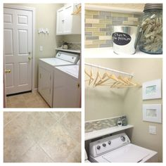 My laundry room is finally complete! Peel & stick tile floors, glass backsplash, new shelf, new cabinet & rod.