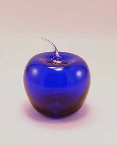 cobalt blue glass apple