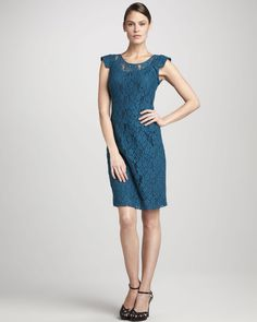 Fitted Lace Dress - Lyst