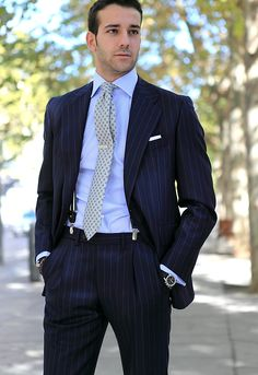 This shows that it's the little things that complete a look. The tie bar, pocket square, suspenders, and watch really make it look put together.