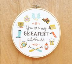 Ltd Edt 6 inch art hoop You Are My Greatest Adventure illustrated quote nursery home love children bedroom decor outdoorsy moonrise kingdom via Etsy