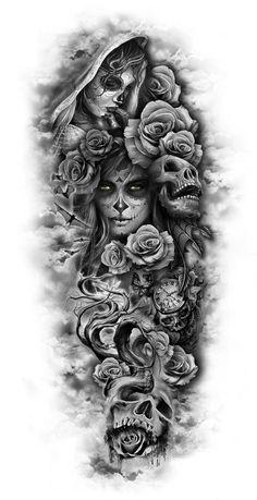 totenkopf mit rosen tattoo - junge frauen und graue totenköpfe und viele große graue rosen dragon tattoo tattoo tattoo designs tattoo for men tattoo for women tattoo tattoo tattoo tattoo tattoo tattoo tattoo tattoo ideas big dragon tattoo tattoo ideas Custom Temporary Tattoos, Custom Tattoo, Full Sleeve Tattoos, Tattoo Sleeve Designs, Day Of The Dead Tattoo Sleeve, Full Leg Tattoos, Half Sleeve Tattoos For Guys, Day Of The Dead Tattoo For Men, Tattoo Designs Men