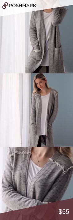 🆕BACK IN! West Village Cardigan ◽️Buyer favorite is back in stock today! Highly recommend. Comfy and stylish, definitely a downtown piece 😍 Reminds me of something I would see at one of my fav stores, Rag & Bone. Marled gray thicker material, raw edge accents, super soft French terry interior, 2 roomy front pockets, casual fit. The sleeves also look so cute rolled. Amazing quality! Rayon cotton poly, easy stretch. New.  ▫Sizes: S M L ▫️I am modeling S ▫️Price firm 📷 Photos are my own…