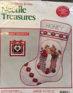 Christmas Kisses Stocking Cross Stitch Kit Bears Peggy Jo Ackley 02847 Ornament | eBay