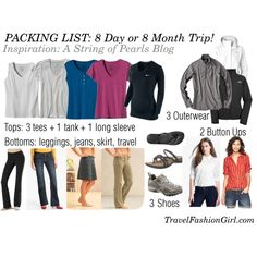 Packing List: 8 Day or 8 Month Trip by travelfashiongirl (Tops: 3 tees, 1 tank, Vacation Packing, Packing List For Travel, Packing Tips, Travel Tips, Packing Checklist, Solo Travel, Travel Essentials, Travel Ideas, Travel Inspiration