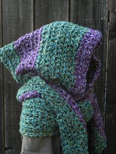 PATTERN - Convertible Hooded Scarf Wrap Shawl Hoodie Neckwarmer Scoodie Crochet. $4.00, via Etsy.