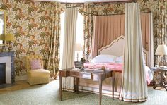 The Chambre Indienne is enlivened by a Madeleine Castaing print by Edmond Petit, available at Clarence House.