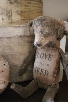 """"""" Teddy teddy bears tucked here and there add warmth and a touch of whimsy to a home.------------What to do with children's old teddy bears that are so falling apart. Old Teddy Bears, Vintage Teddy Bears, My Teddy Bear, Teedy Bear, Shabby, Antique Toys, Vintage Toys, Cute Bear, Bear Doll"""