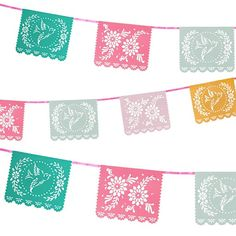 Beautifully inspired by traditional Mexican Folk Art, these Papel Picado banners will add a festive touch to your next party. Each rectangular pennant is decorated with traditional Mexican cut out patterns that feature birds and beautiful florals. Pink satin ribbon connects each banner flag and extends a total of ten feet. Well made, with thick heavy weighted paper and a protective coating this banner can be stored and used again for future parties.  QUANTITY: One Papel Picado Banner SIZE…