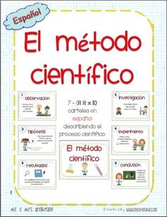 Scientific method posters in Spanish for bilingual or dual language science classrooms. Just print on tagboard, laminate, cut and post around your classroom or in your science center. Each poster provides an explanation for each scientific method step wit Dual Language Classroom, Bilingual Classroom, Bilingual Education, Spanish Classroom, Teaching Spanish, Science Resources, Science Activities, Science Experiments, Science Classroom