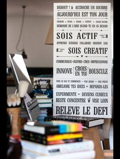 Relève le Défi ! Tableau déco de #motivation . Impression sur toile Canvas 100*50 cm existe en affiche adhésive et magnet souple en vente sur www.mesmotsdeco.com