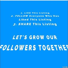 FOLLOW GAME!! LIKE,FOLLOW,SHARE!!!! Rules are number 1•like this listing 2•follow everyone who has like this listing 3•share this listing with everyone don't forget to tag your PFFS! Helped me grow my followers and intern grow your followers as well. Thanks everyone!! Other