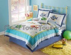 7PC Colorful Underwater BLUE Sea Queen Quilt Bedding QS3909FQ