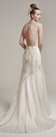 Vintage inspired art deco wedding dress gown beaded sequins romantic