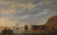 Aelbert Cuyp | A Herdsman with Five Cows by a River | NG823 | The National Gallery, London
