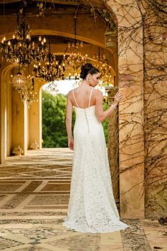 Back of the 'Ivy' gown with delicate silk straps, silk covered buttons and 'Godet' train from Bertossi Brides at Paddington Weddings.