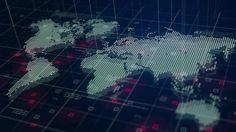 Digital World Map Hologram Blue Background Free Photo