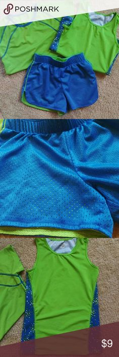 2 Shirts & Shorts Size 7/8 Matching set of bright green & blue siky athletic tank, tee and mesh shorts. Green and blue and white polka dots on back of tank. Perfect for your little athlete.  No fading or snags. Near perfect condition. MTS Size 7/8 MTS Shirts & Tops