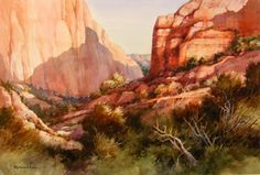 UTAH LANDSCAPES - Kolob Canyon Trail Zion National Park , Original watercolor Painting of the Kolob Canyons Section of Zion National Park - Watercolor Paintings by Roland Lee