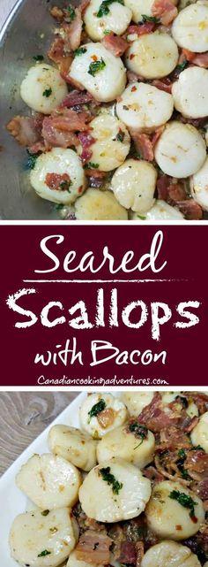 Seared Scallops with Bacon #scallops #bacon #seared