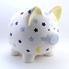 Moon & Stars Piggy Bank - Personalized Piggy Bank - Solar System Bank - Kids Piggy Bank - Ceramic Bank - with hole or NO hole in bottom Pig Baby Shower, Pig Bank, Personalized Piggy Bank, Cute Piggies, Baby Pigs, Handmade Decorations, Stars And Moon, Cute Designs, Ceramics