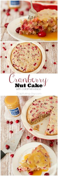 Cranberry Nut Cake Recipe with Caramel Sauce, delicious and dense and moist cake, you eat it right out of the pan!